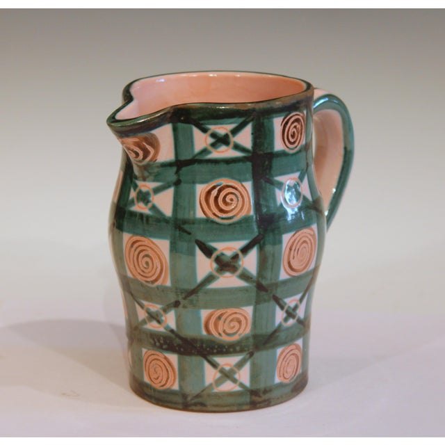 French Vintage 1960s Robert Picault French Studio Pottery Geometric Pitcher For Sale - Image 3 of 7