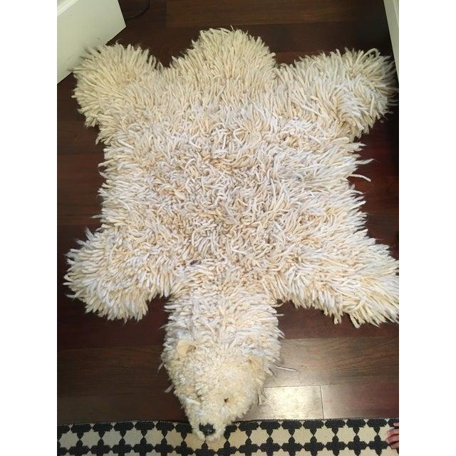 1970s Vintage Faux Polar Bear Yarn Rug - 3′6″ × 4′5″ For Sale - Image 11 of 11