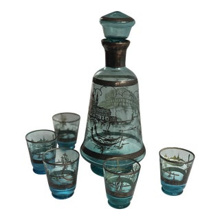 Vintage Murano Aqua Turquoise & Silver Glass Decanter With Five Cordial Glasses - Set of 6 For Sale