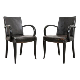 French 20th Century Art Deco Ebony Armchairs - a Pair For Sale