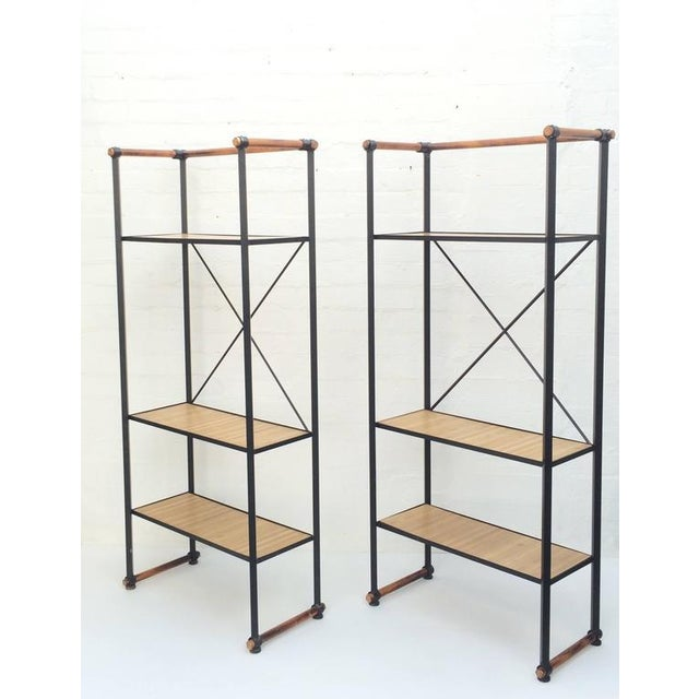 For your consideration a pair of rare Etageres designed by Cleo Baldon. These freestanding shelfs consist of a wrought...
