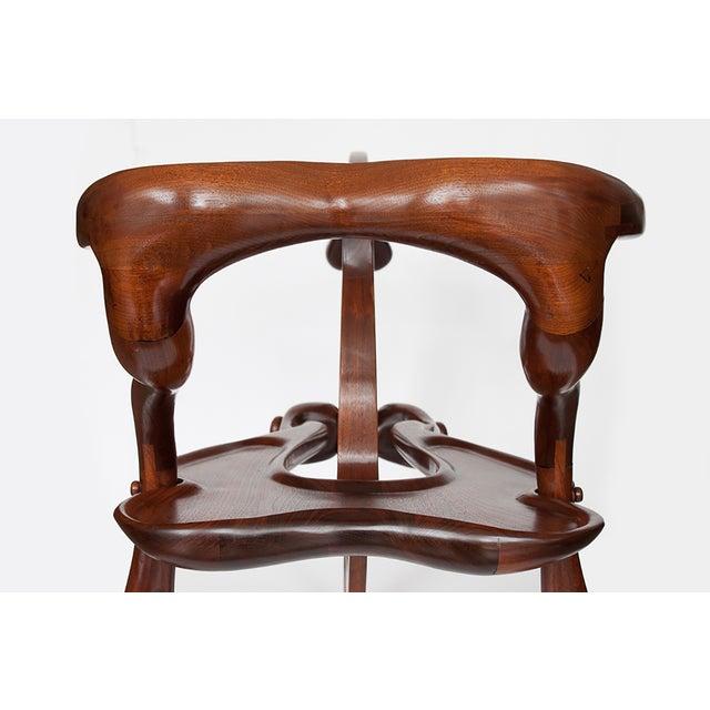 Vintage Studio Sculptural Carved Walnut Bar Cart - Image 6 of 10