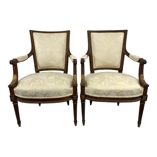 Louis XVI Style Arm Chairs a Pair For Sale