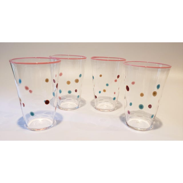 Blown Glass Polka Dot, Pink-Rimmed Hand-Blown Tumblers - Set of 4 For Sale - Image 7 of 7