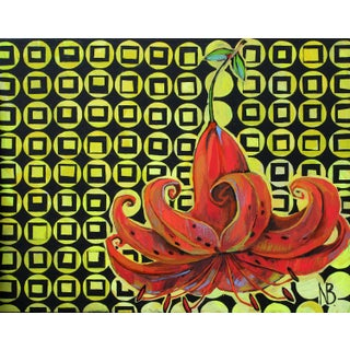 Artistic Lily Original Acrylic Painting by Natalia Bessonova Geometry Patterns 30x24 For Sale
