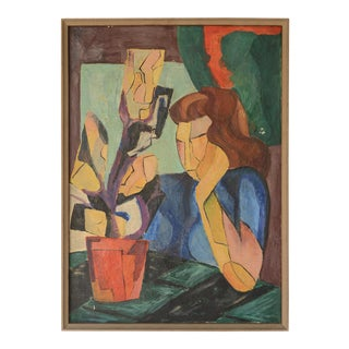 1950s Modernist Cubist Style Lady Oil Painting, Framed For Sale