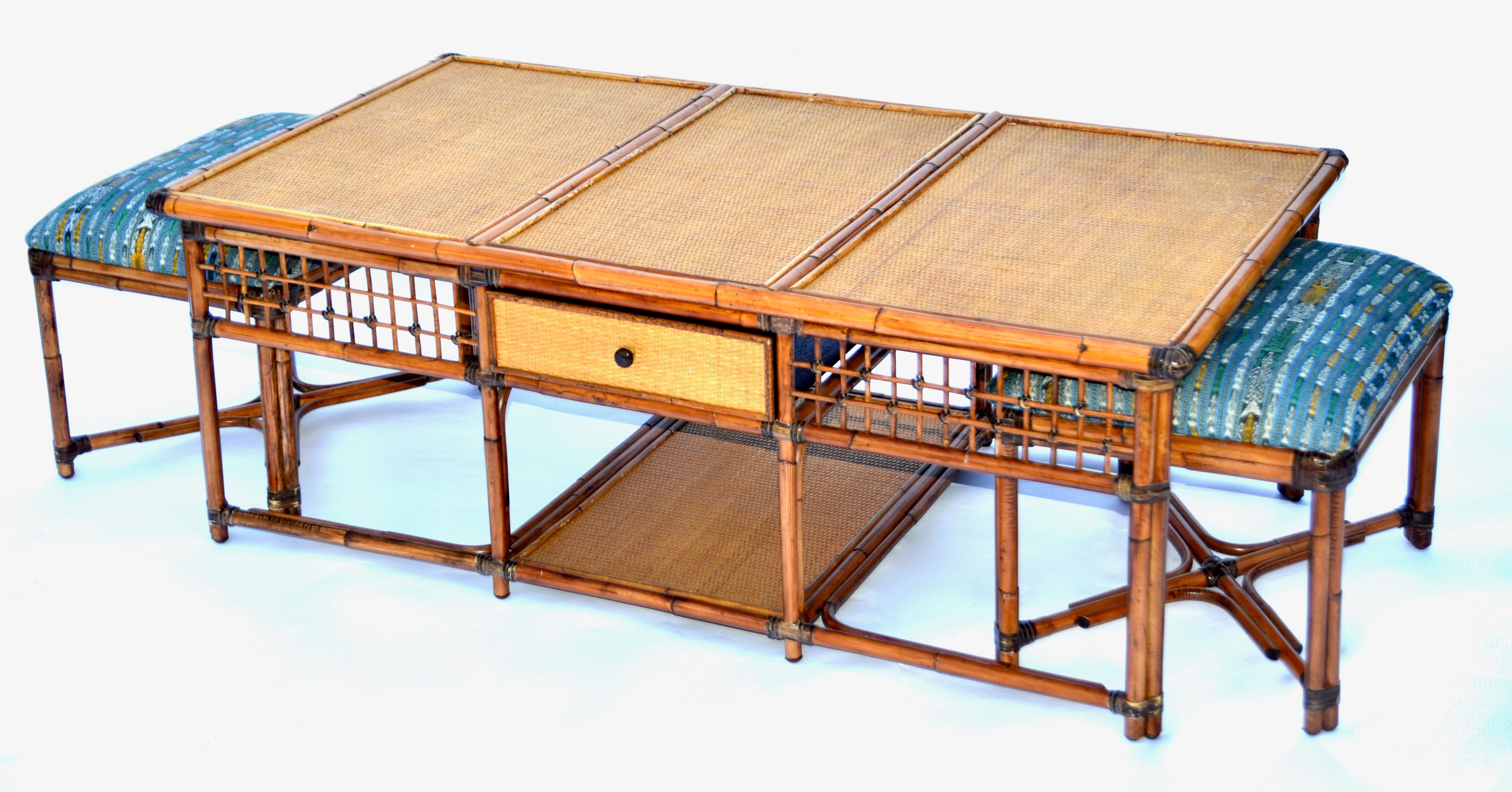 High Quality Vintage Palecek SF Rattan Bamboo Coffee Table With Hidden Stools   Image 3  Of 8