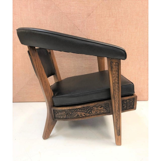 Mid-Century Modern Pair of Romweber Carved Oak Lounge Chairs For Sale - Image 3 of 8