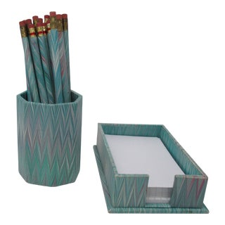 Set of Marbleized Accessories - Pencils With Holder, Note Paper Holder in Pale Blue For Sale
