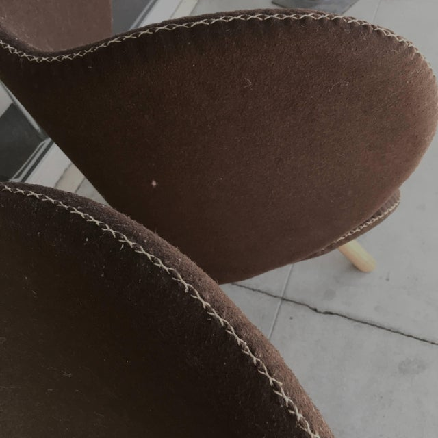 Mid-Century Modern Denmark Designed Brown Wool Easy Chairs- A Pair For Sale - Image 4 of 7