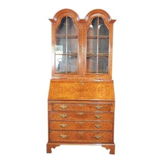 Georgian Burled Walnut Tombstone Glazed Secretary Desk With Individual Glass For Sale