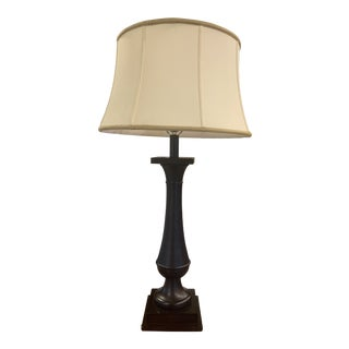 Baker Furniture Baluster Table Lamp With Shantung Drum Silk Shade For Sale