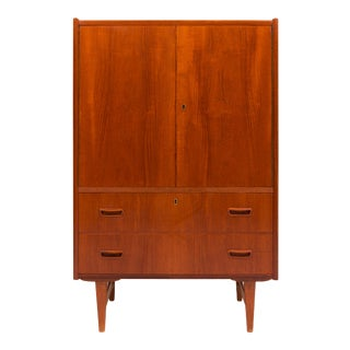 1960s Vintage Danish Mid-Century Teak Wardrobe / Gentleman's Chest For Sale