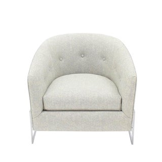 Upholstery Barrel Back Lounge Chair by Milo Baughman For Sale