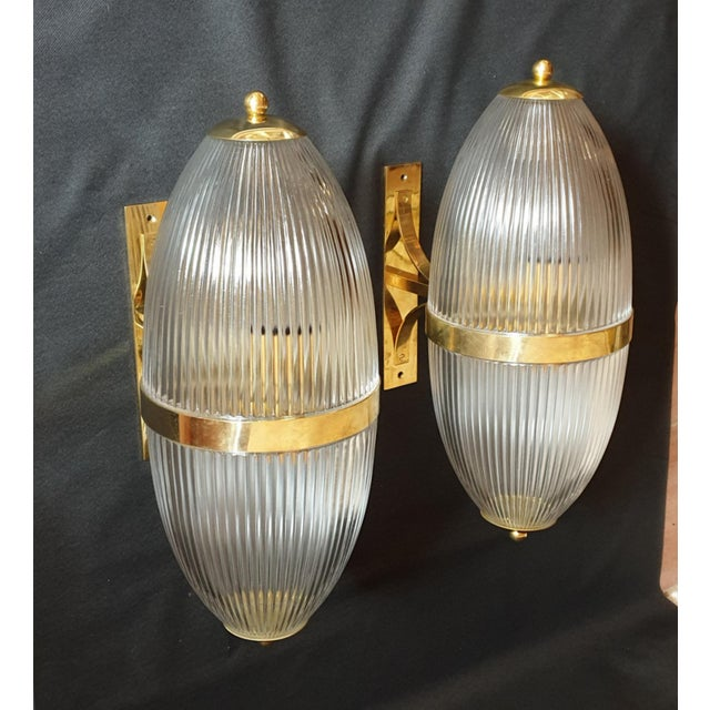 Azucena Large Mid-Century Modern Clear Glass & Brass Italian Sconces or Lanterns - a Pair For Sale - Image 4 of 12