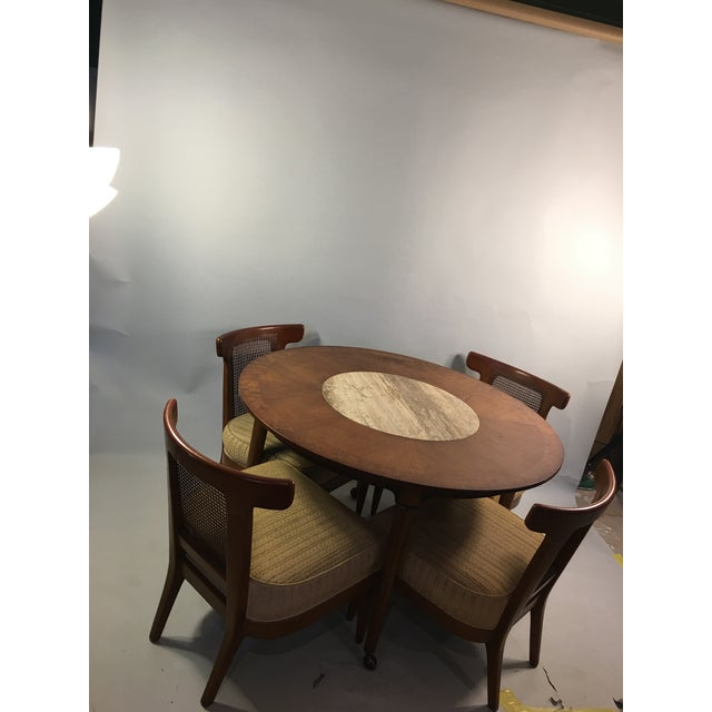 Mid-Century Round Marble Insert Dining Table & Chairs - Image 3 of 11