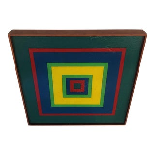 Large Early 1970's Hard Edge Resin Pour Wall Painting/Sculpture For Sale