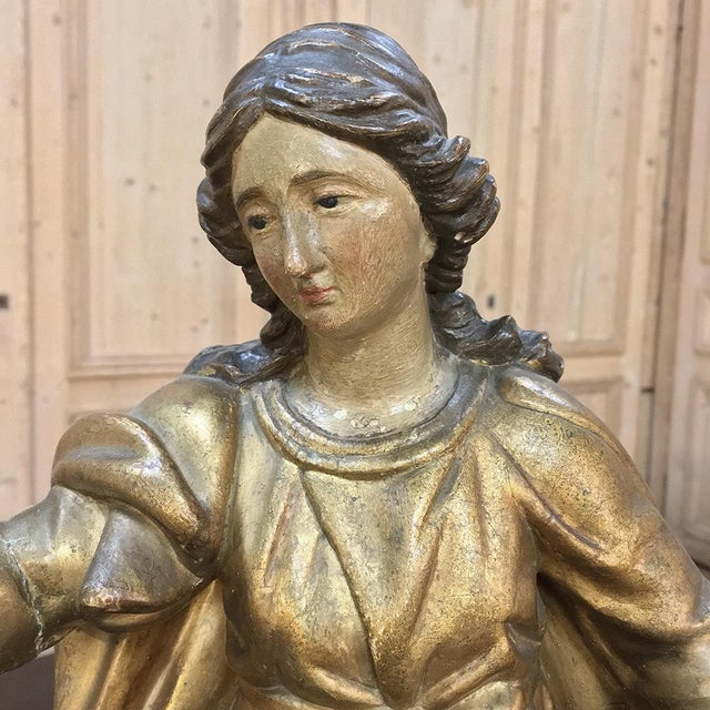 Gold 19th Century Giltwood Polychrome Statue of Madonna For Sale - Image 8 of 12