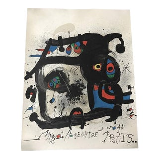 "Joan Miro Lithograph ""Homenatge Prats"" Signed, C.1972 For Sale"