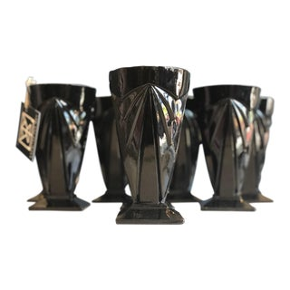 Set of 8 Opaque Black Glass Tumblers For Sale