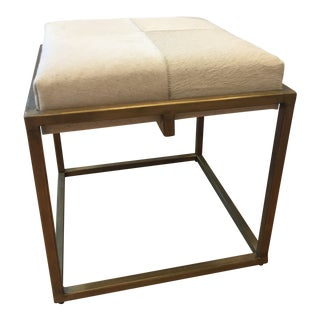 Jamie Young Company Shelby White Hide and Antique Brass Stool For Sale