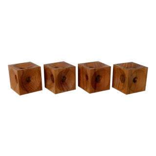Four Multi Hole Dansk Style Teak Candle Stands Marked e.h. Denmark For Sale