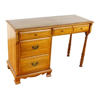 Late 20th Century Vintage Carved Wood 5-Drawer Desk For Sale