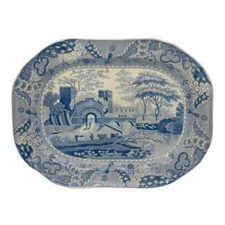 "19th Century 1830s Antique Spode ""The Castle Pattern"" Light Blue Platter For Sale"