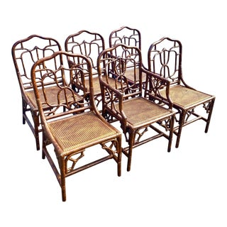 Vintage Coastal Fretwork Bamboo Dining Chairs After Maitland Smith For Sale