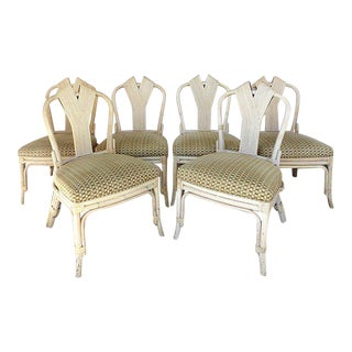 1960 Mid-Century Rattan Dining Chairs - Set of 6 For Sale