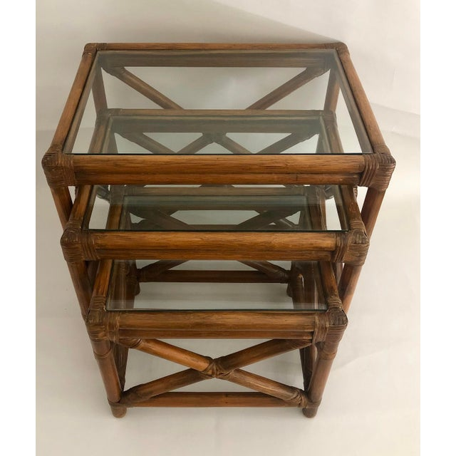 Mid-Century Modern Mid-Century Bamboo Glass Top Nesting Table's - Set of 3 For Sale - Image 3 of 7