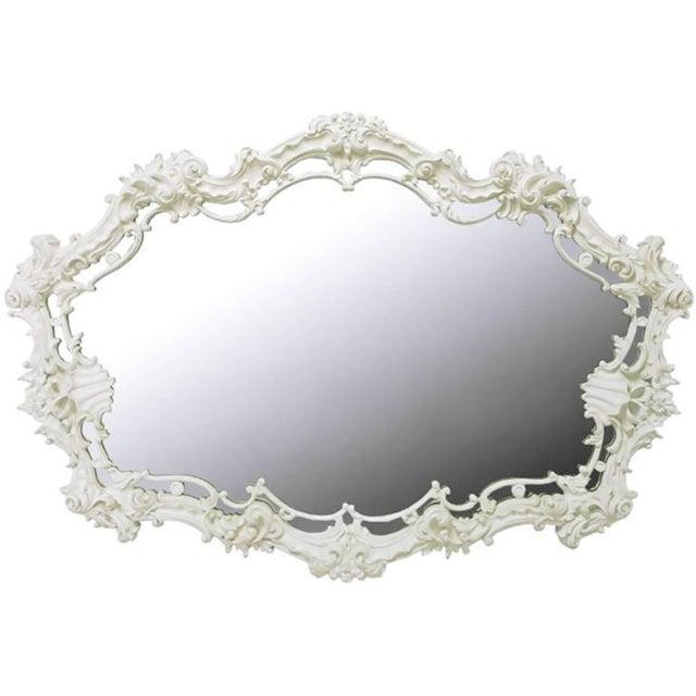 Glass Extraordinary Italian Rococo Mirror of White Lacquered Gesso For Sale - Image 7 of 7