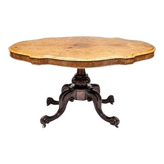 "Victorian, Walnut, ""Turtle Top"" Parlor Table"