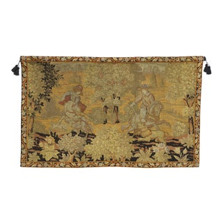Antique English Tapestry With Medieval Hunting Scene, Wall Hanging 03'09 X 05'11 For Sale