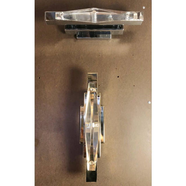 Crystal Chrome Sconces / Flush Mounts by Fabio Ltd - a Pair For Sale In Palm Springs - Image 6 of 7