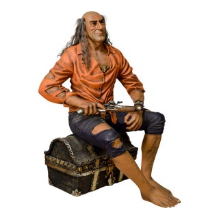 Life Size Pirate Statue on Treasure Chest