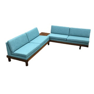 Martin Borenstein Newly Upholstered Tiffany Blue Tweed Sofas - a Pair