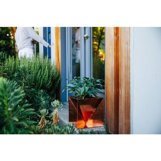 "Contemporary Origami Planter - Copper 20"" For Sale - Image 3 of 6"