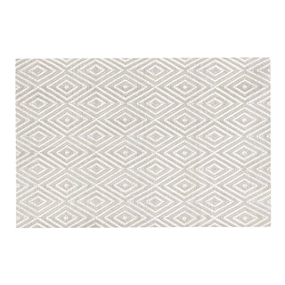 Geometric White & Khaki Rug - 3′ × 5′