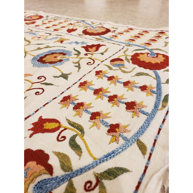 20th Century Asian Suzani Textile Rug - 3'5x3'7 For Sale - Image 4 of 10