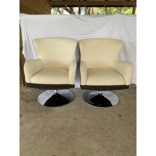 Palecek Metro Swivel Wing Seagrass and Chrome Chairs - a Pair For Sale - Image 12 of 13