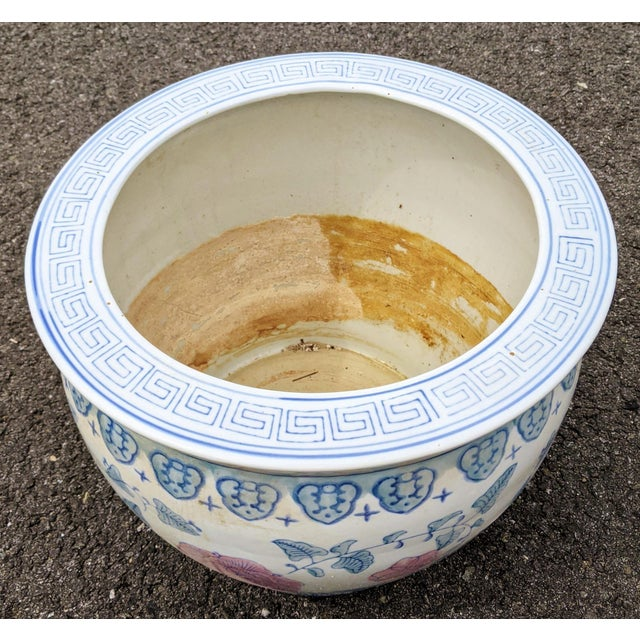 Chinese 20th C Chinese Painted & Glazed Porcelain Roses Floral Fish Bowl Planter For Sale - Image 3 of 11