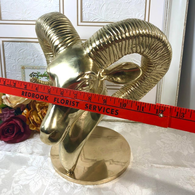 Vintage Solid Brass Ram Head Statue For Sale - Image 4 of 12