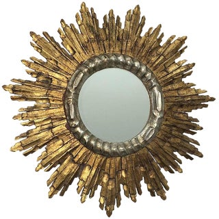 Vintage Mid-Century French Giltwood Sunburst Mirror For Sale