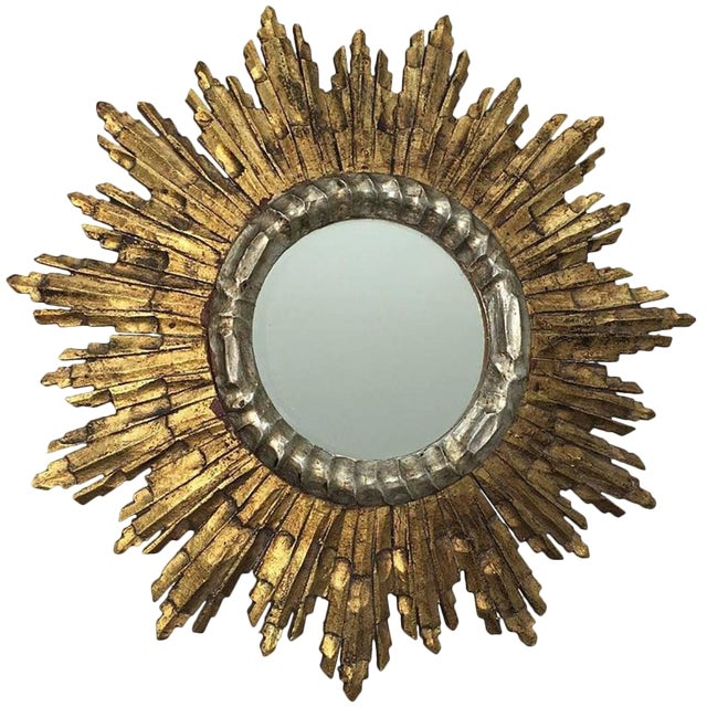 Vintage Mid-Century French Giltwood Sunburst Mirror For Sale