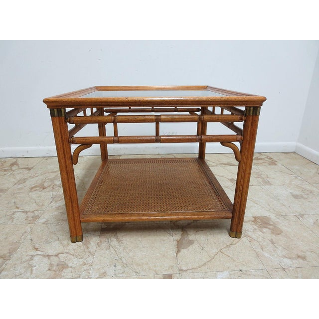 Vintage Mid Century Campaign Faux Bamboo Carved Lamp End Table Stand. Please see our photos as they are considered part of...
