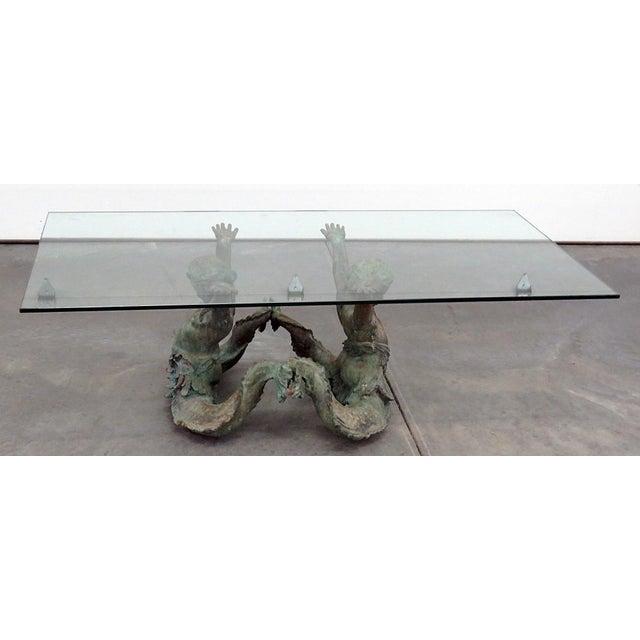 Green Bronze Putti DI Mare Glass Top Coffee Table For Sale - Image 8 of 8