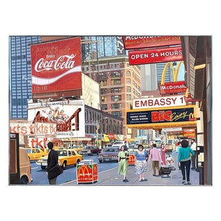 1987 Nyc, Times Square Pop Art Original Painting by Matthew Popielarz For Sale