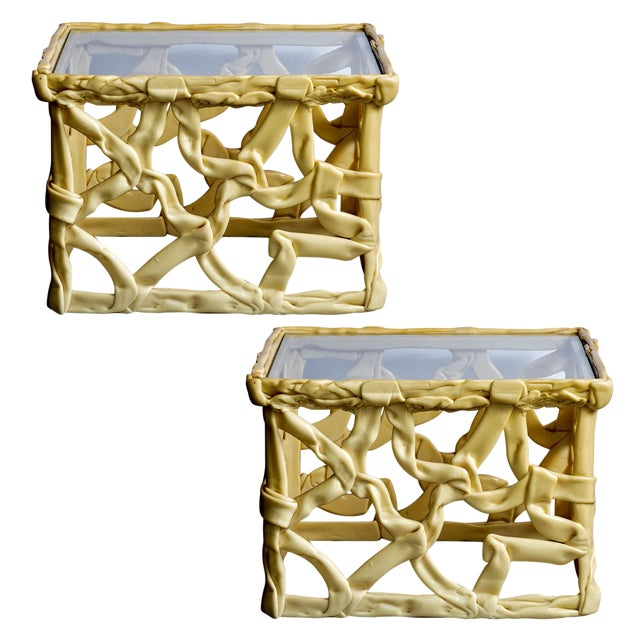 """1970's Vintage """"Ribbon"""" Yellow Resin Side Tables, A-Pair For Sale"""