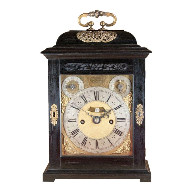 Charles II Ebony Table Clock by Thomas Tompion For Sale